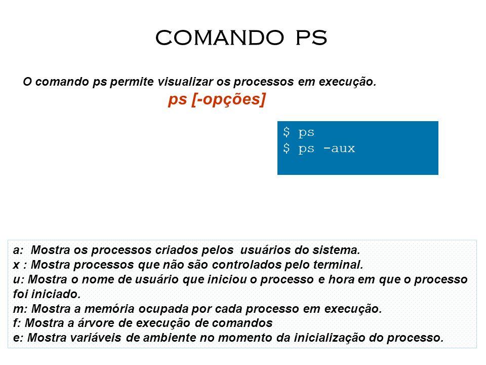 COMANDO PS O comando ps permite visualizar os processos em execução. ps [-opções] $ ps. $ ps -aux.
